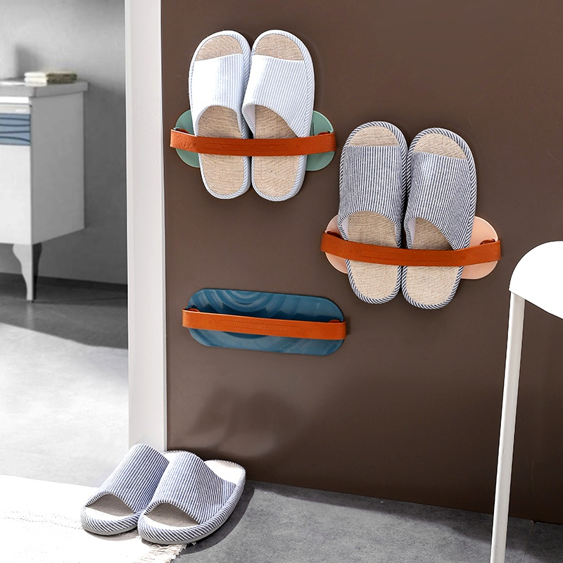 Bathroom wall-mounted paste slippers rack NHNU290827