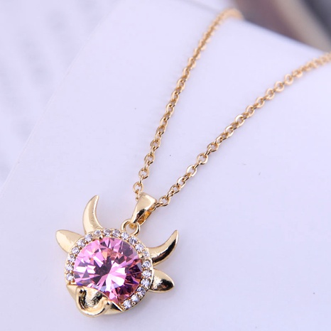 Korean Fashion Sweet Shining Zircon Cow  Necklace NHSC290833's discount tags