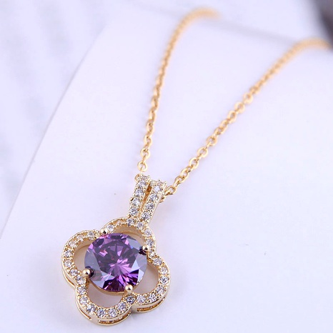 Korean fashion sweet OL simple four-leaf clover zircon  necklace NHSC290834's discount tags