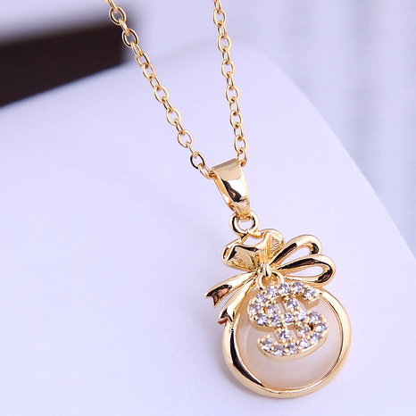 Korean fashion sweet OL simple opal personalized necklace NHSC290849's discount tags