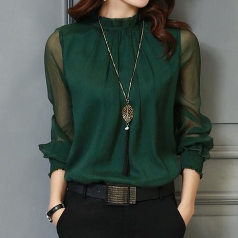 Nuevo top de camisa con volantes de malla de moda de todo fósforo sexy NHJC299778's discount tags