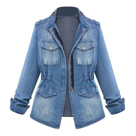 chaqueta de mezclilla de manga larga de talla grande NHUO299772's discount tags