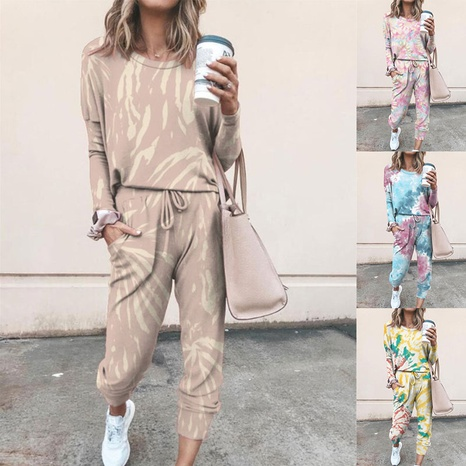 winter printing casual home wear long sleeve women suit NHKO298854's discount tags