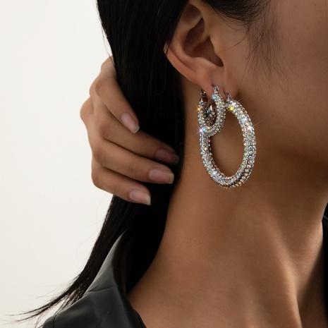 fashion diamond circle earrings NHXR298055's discount tags