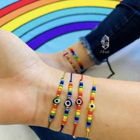 Simple fashion Bohemian ethnic glass beads eyes handmade bracelet NHGW298065's discount tags