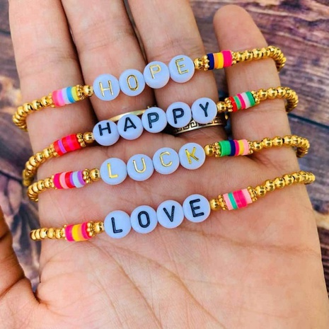 bohemian color 4mm soft ceramic beaded love letter bracelet  NHGW298069's discount tags