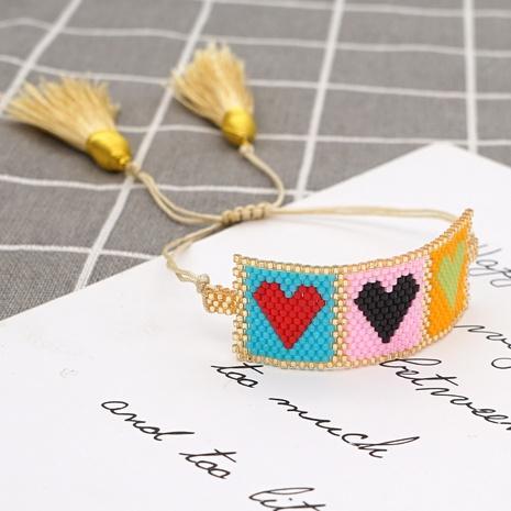 simple bohemian Miyuki rice beads handmade beaded love peach heart bracelet NHGW298082's discount tags