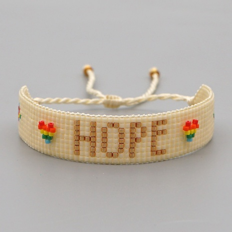 Bohemian ethnic Miyuki rice beads handmade beaded color love hope HOPE letter bracelet NHGW298081's discount tags