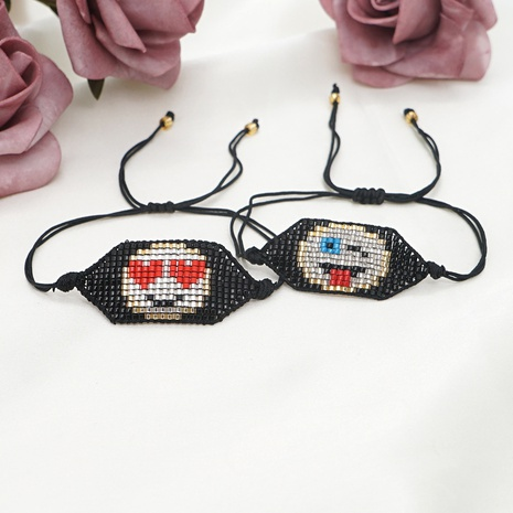 punk style wild Miyuki rice bead woven pure handmade beaded love smiley face bracelet NHGW298085's discount tags