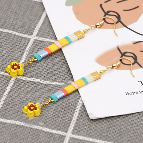 Bohemian color beaded daisy earrings NHGW298090's discount tags