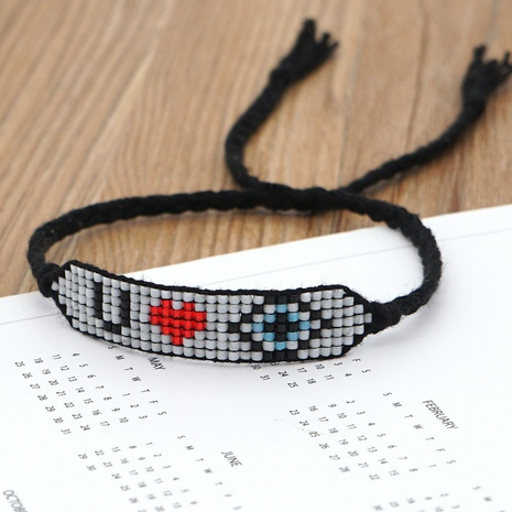 Turkish evil eye beaded Miyuki rice beads woven letter bracelet NHGW298096's discount tags