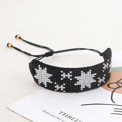 Creative black Miyuki rice beads handmade beaded ice flower snowflake couple bracelet  NHGW298101's discount tags