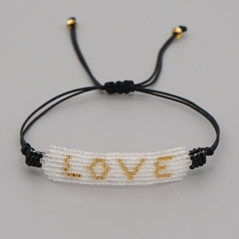 Simple  Miyuki rice beads woven white gold beads love letter bracelet NHGW298119's discount tags