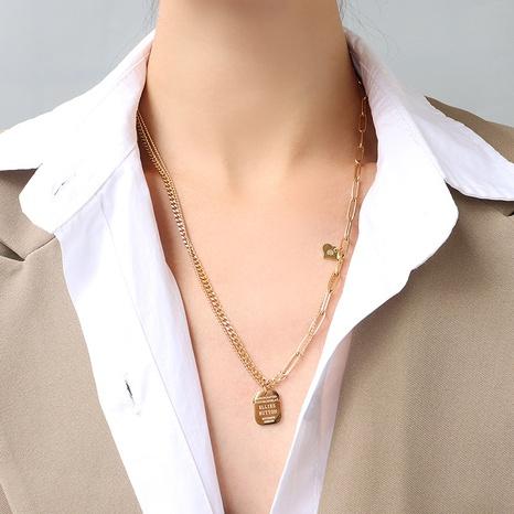 collier en acier titane double épaisseur avec lettre anglaise NHOK298160's discount tags