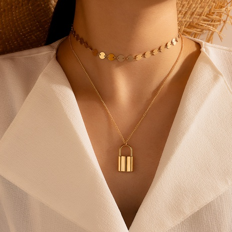 simple lock-shaped 2-layer necklace NHGY298166's discount tags