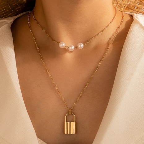 pearl metal small lock pendant double-layer necklace NHGY298167's discount tags