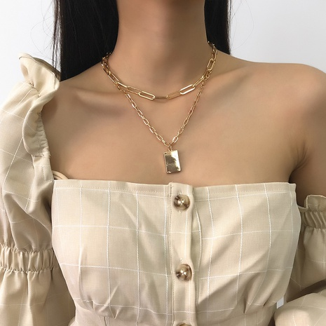 fashion square pendant alloy double layer necklace NHMD298171's discount tags