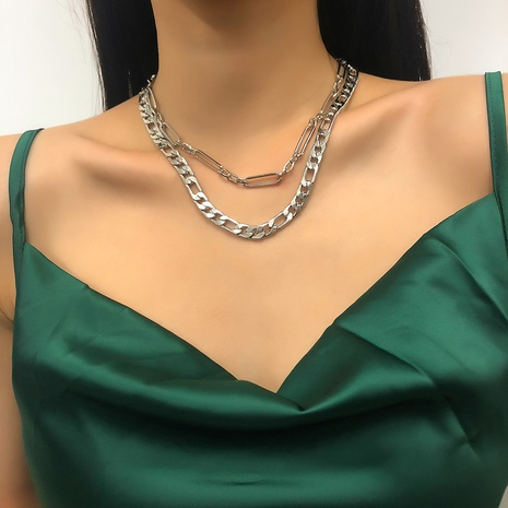 retro fashion double-layer necklace  NHMD298173's discount tags