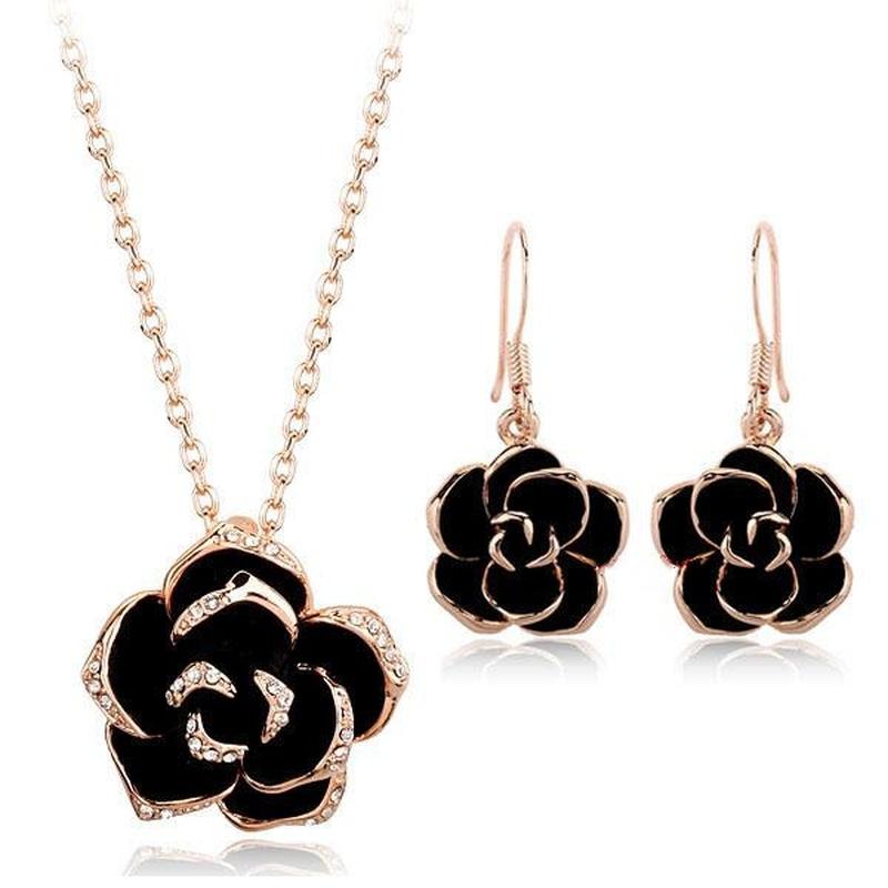 Fashion exquisite vintage inlaid Austrian diamond oil rose personality necklace jewelry set NHLJ198741