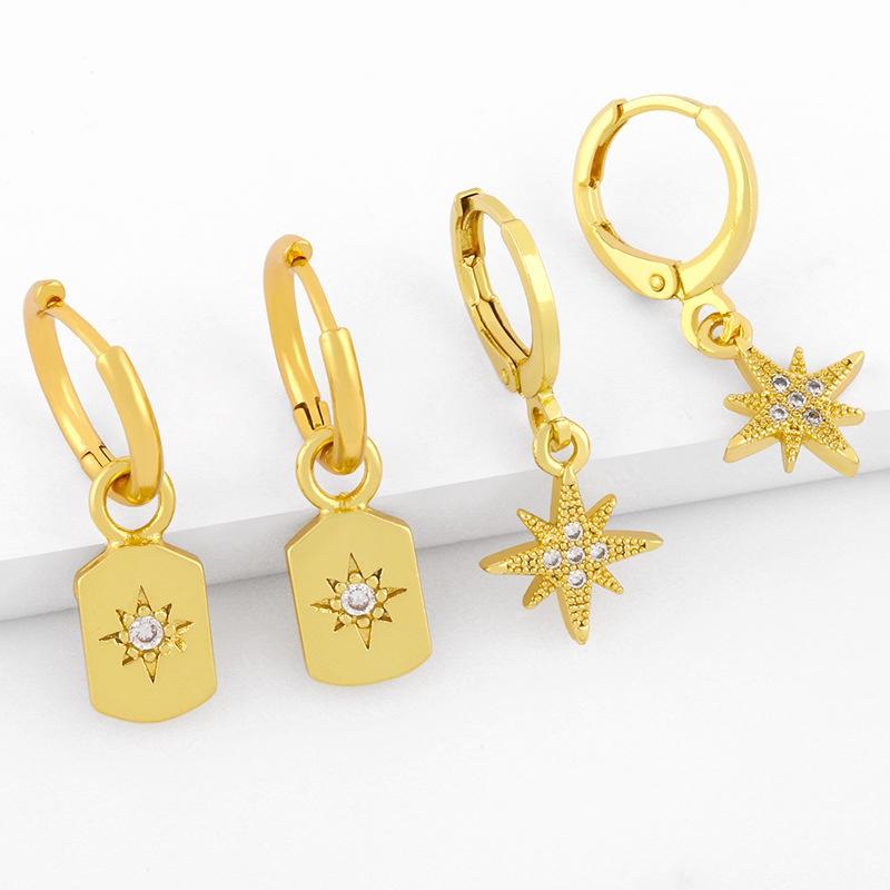 aretes de estrella de seis puntas con micro incrustaciones NHAS298184