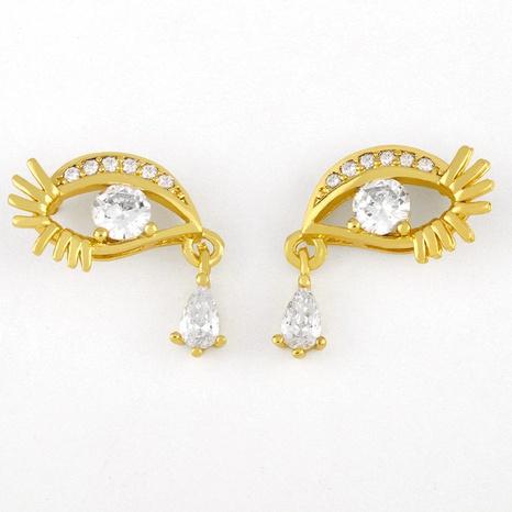 ojos geométricos lágrimas pendientes de diamantes NHAS298185's discount tags