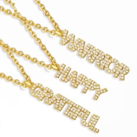collier en zircon micro-incrusté de lettre créative NHAS298189's discount tags