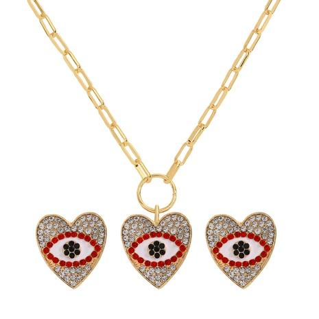 Retro farbige Diamantlegierung Devil's Eye Halskette Ohrringe Set NHJQ298201's discount tags