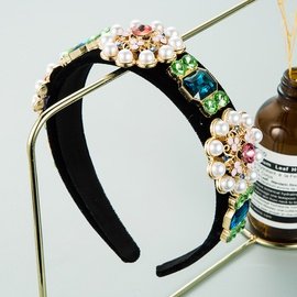 diadema barroca retro con flor de perla NHLN298225