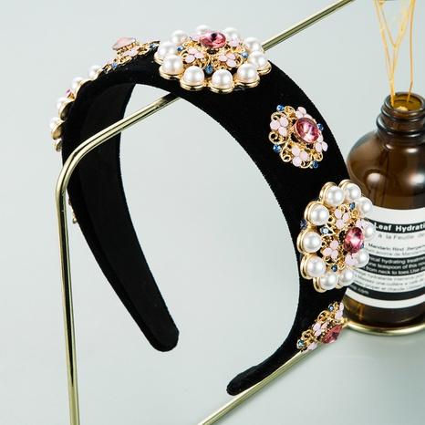 alloy pearl flower headband  NHLN298229's discount tags