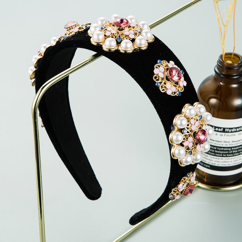alloy pearl flower headband  NHLN298229