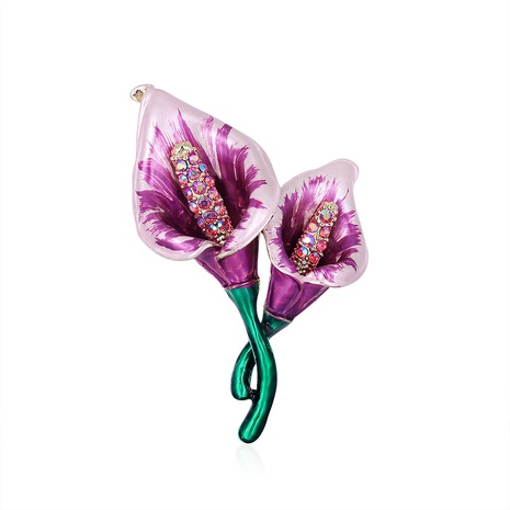 purple alloy rhinestone flower brooch NHDR298259's discount tags