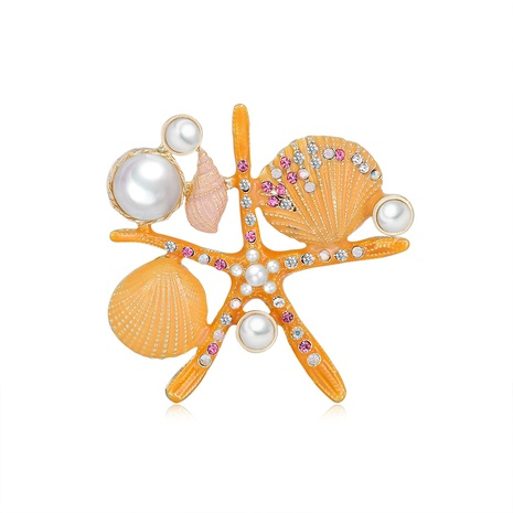 fashion five-pointed star shell pearl diamond brooch NHDR298273's discount tags
