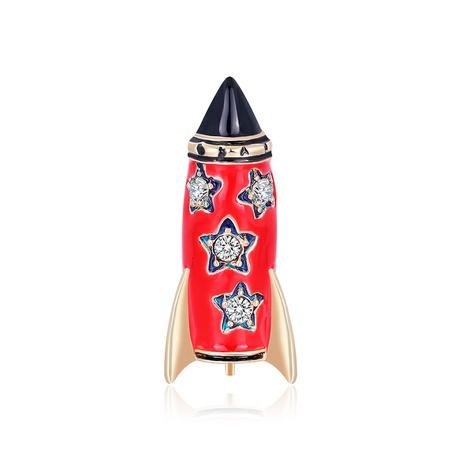 Cartoon alloy diamond-studded rocket brooch NHDR298284's discount tags