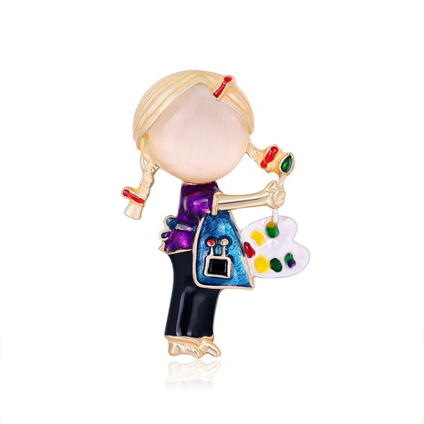 purple braided girl pattern brooch NHDR298289's discount tags