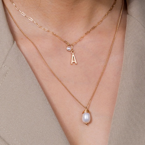 alloy letter A pearl multilayer necklace  NHAN298316's discount tags
