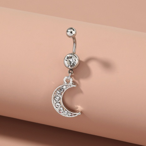 fashion moon diamond pendant stainless steel belly button nail NHAN298322's discount tags