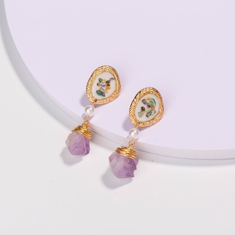 Pendientes de piedra natural púrpura de concha de moda NHAN298338's discount tags