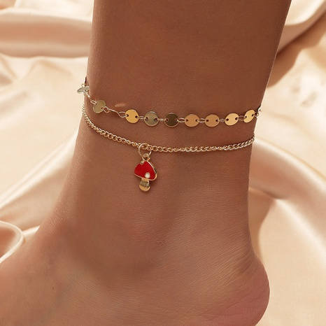 Bohemian Metal Cute Mushroom Multilayer Anklet NHLA298382's discount tags