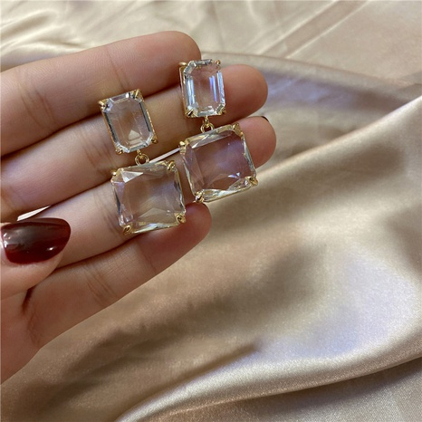 transparent square earrings NHPF298383's discount tags