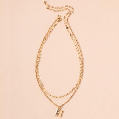 collier double épaisseur avec pendentif lettre H NHAI298390's discount tags