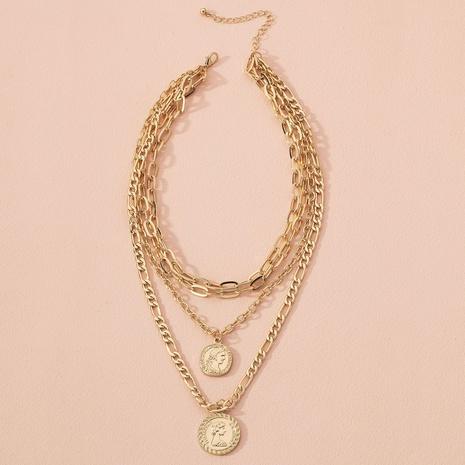 retro portrait coin pendant multilayer necklace NHAI298407's discount tags