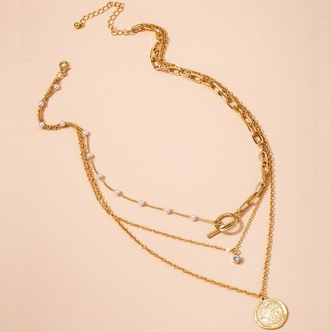 gold coin diamond pearl necklace  NHAI298413's discount tags