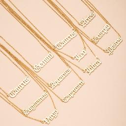 simple collar con colgante de letra de doce constelaciones NHAI298417