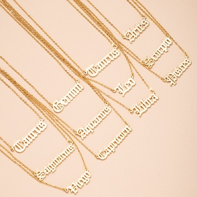 simple twelve constellation letter pendant necklace NHAI298417