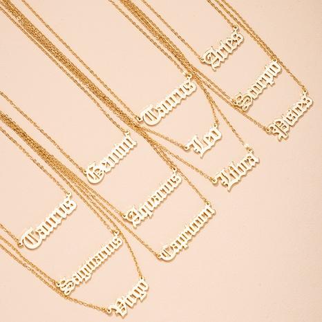 collier à pendentif lettre simple douze constellations NHAI298417's discount tags