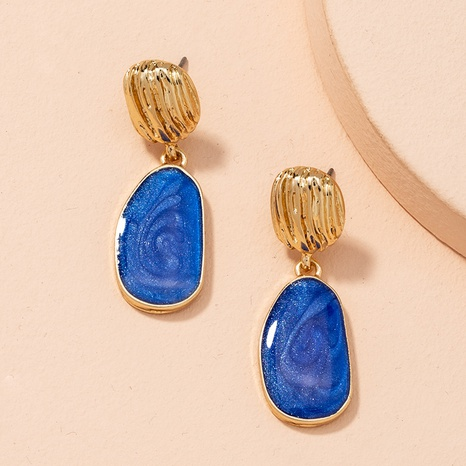 simple blue alloy oil drop earrings  NHAI298418's discount tags