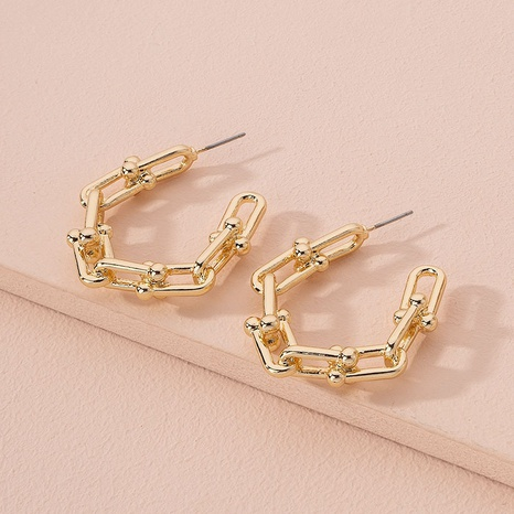 exaggerated geometric C-shaped chain buckle earrings  NHAI298422's discount tags