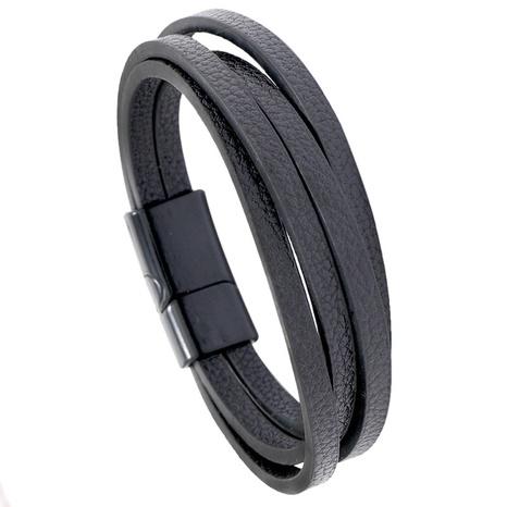 einfaches mehrschichtiges Lederarmband NHPK298433's discount tags