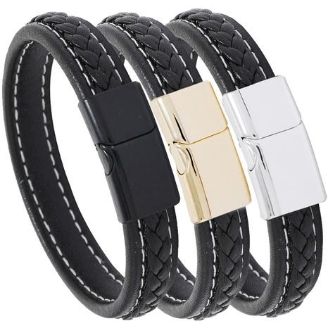 einfaches lässiges schwarz gewebtes Lederarmband NHPK298439's discount tags