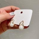 Korea microinlaid Vshaped zircon pearl earrings NHXI298443